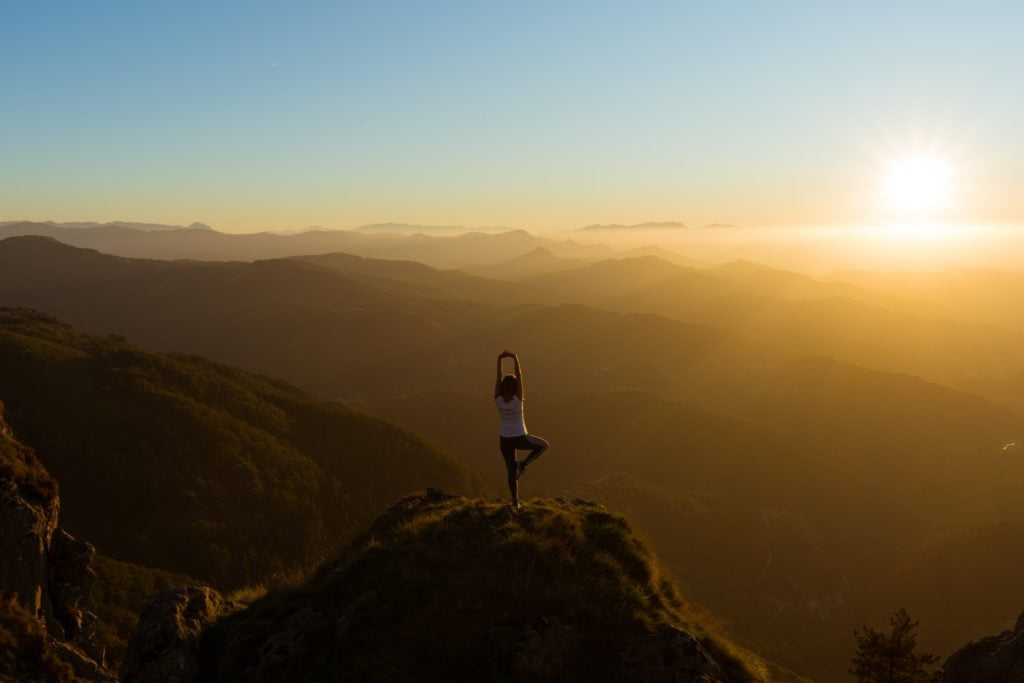 yoga, sunrise