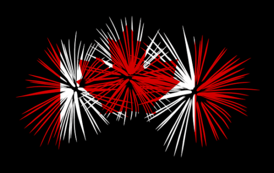 Image of Canadian flag created with fireworks
