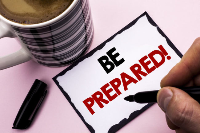 Handwritten note: Be Prepared