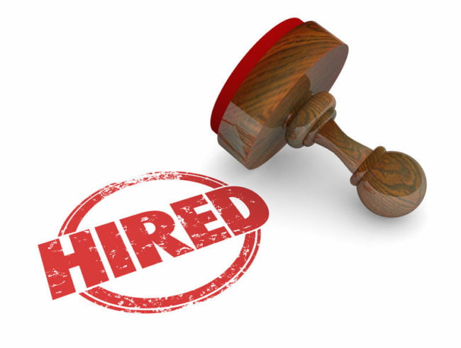 Hired red stamp