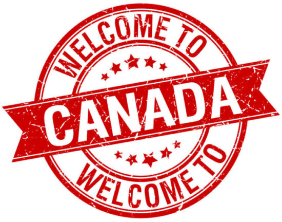 Supporting newcomers to Canada, red and white Welcome to Canada stamp