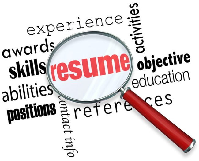 A magnifying glass focusing in on what it takes to craft the best Canadian résumé